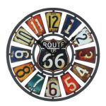Route 66 Metal Cut Out Wall Clock Cut Out Multi Coloured 40cm